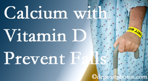 Calcium and vitamin D supplementation may be suggested to Fort Wayne chiropractic patients who are at risk of falling.