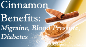 Cox Chiropractic Medicine Inc presents research on the benefits of cinnamon for migraine, diabetes and blood pressure.