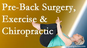 Cox Chiropractic Medicine INC offers beneficial pre-back surgery chiropractic care and exercise to physically prepare for and possibly avoid back surgery.