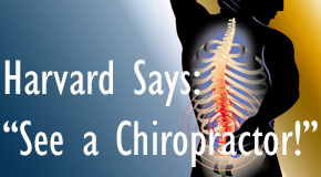 Fort Wayne chiropractic for back pain relief urged by Harvard