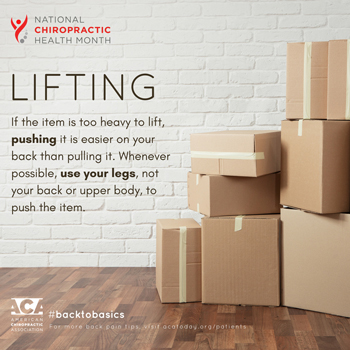 Fort Wayne Chiropractic Radiological Center advises lifting with your legs.