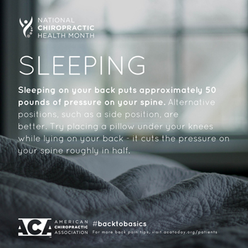 Fort Wayne Chiropractic Radiological Center recommends putting a pillow under your knees when sleeping on your back.